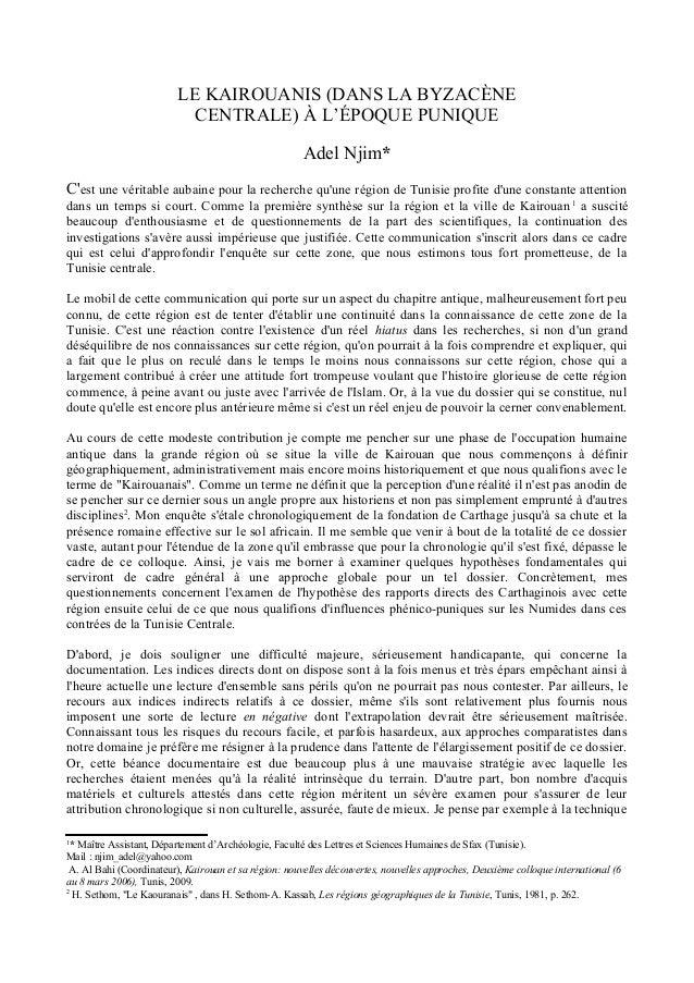LE KAIROUANIS (DANS LA BYZACÈNE CENTRALE) À L'ÉPOQUE PUNIQUE Adel Njim* C'est une véritable aubaine pour la recherche qu'u...