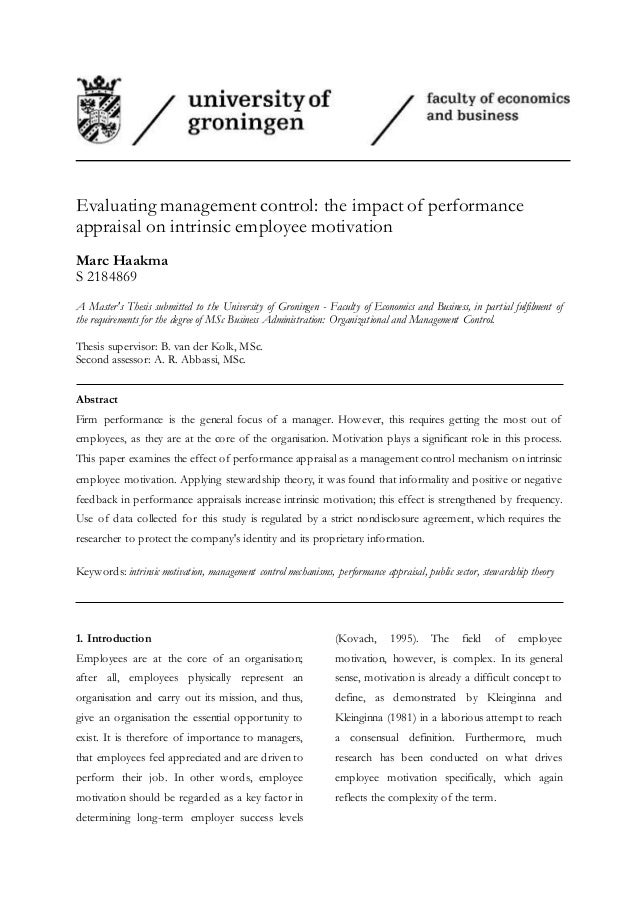 thesis on performance appraisal On feb 2, 2014, stevens maleka published a research thesis starting with the following thesis statement: the research study was based on critically assessing the effectiveness of the performance management systems in department of communications.