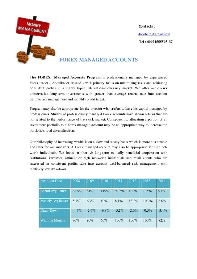 Metro forex managed accounts program