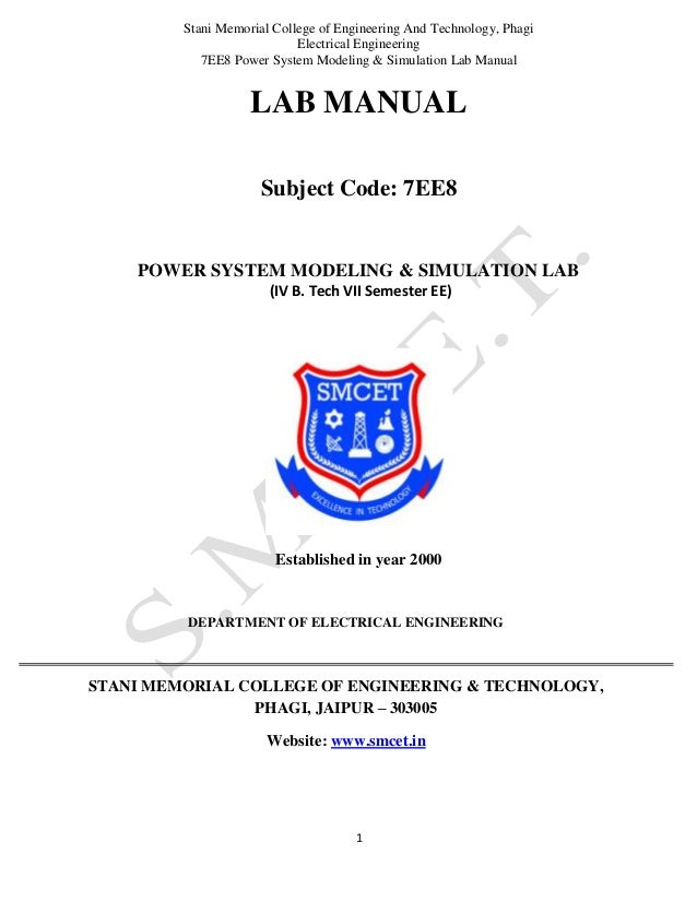 Power System Modelling And Simulation Lab