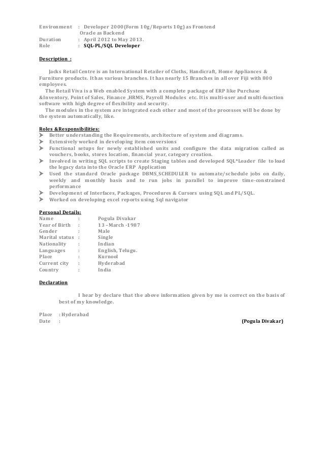 oracle pl sql developer resume sample