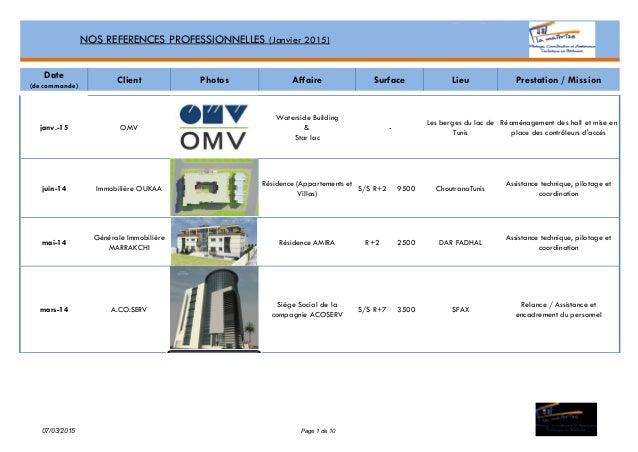 Date (de commande) Client Photos Affaire Lieu Prestation / Mission janv.-15 OMV Waterside Building & Star lac Les berges d...