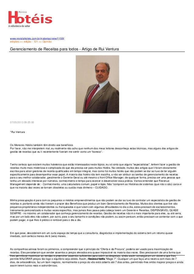 www.revistahoteis.com.br/materias/view/11551edições >> edição - 121 >> OpiniãoGerenciamento de Receitas para todos - Artig...