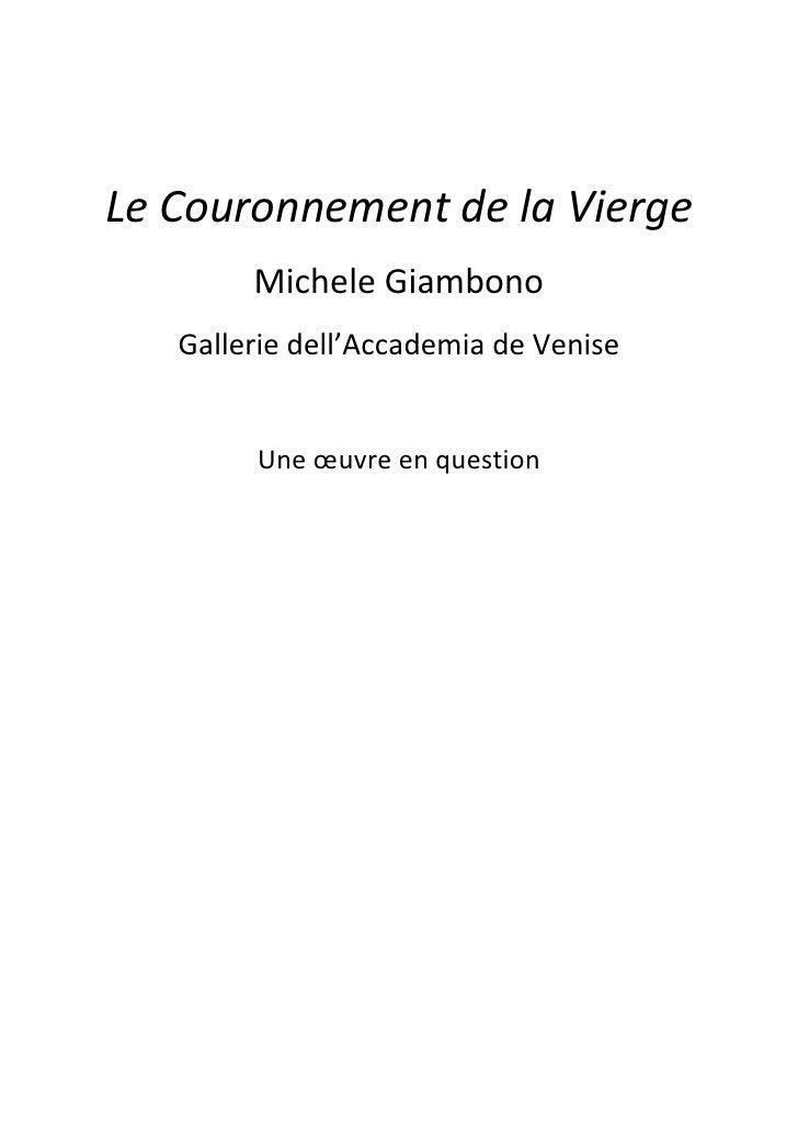 Le Couronnement de la Vierge        Michele Giambono   Gallerie dell'Accademia de Venise        Une œuvre en question