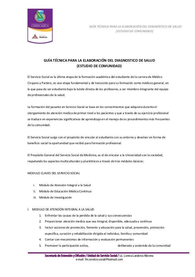 GUÍA TÉCNICA PARA LA ELABORACIÓN DEL DIAGNÓSTICO DE SALUD (ESTUDIO DE COMUNIDAD)  GUÍA TÉCNICA PARA LA ELABORACIÓN DEL DIA...