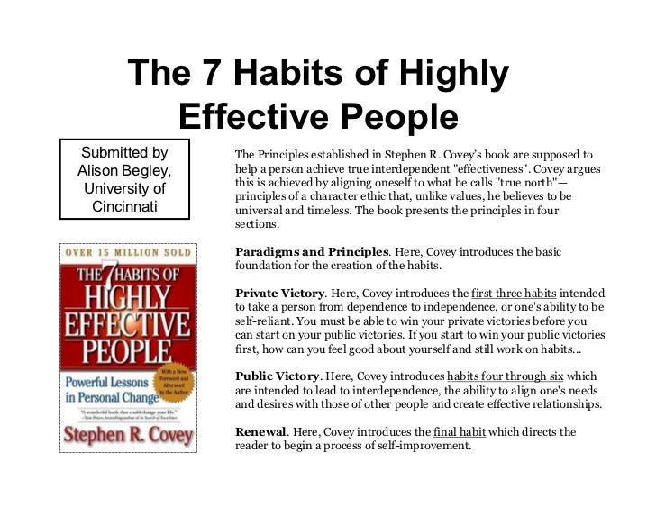 The 7 Habits of Highly         Effective PeopleSubmitted by     The Principles established in Stephen R. Covey's book are ...
