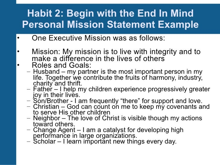 writing a personal mission statement stephen covey