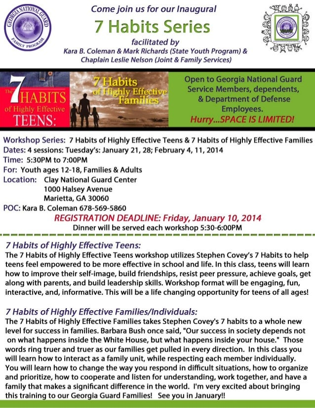 7 Habits Series: REGISTRATION DEADLINE: Friday, January 10, 2014 (Space is limited)