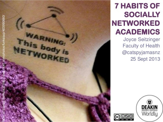 7 HABITS OF SOCIALLY NETWORKED ACADEMICS Joyce Seitzinger Faculty of Health @catspyjamasnz 25 Sept 2013 lickrcclicenseFunk...