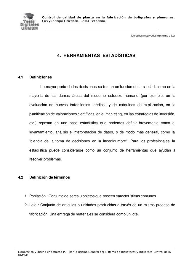 Control de calidad de planta en la fabricación de bolígrafos y plumones.                 Cusiyupanqui Chicchón, César Fern...