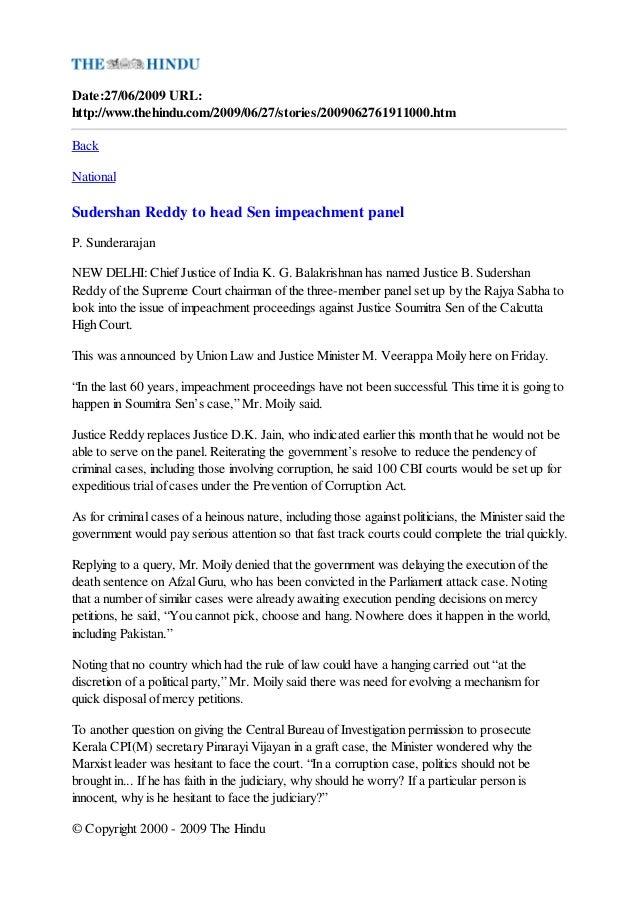 7 hindu sudershan_reddy_to_head_sen_impeachment_panel