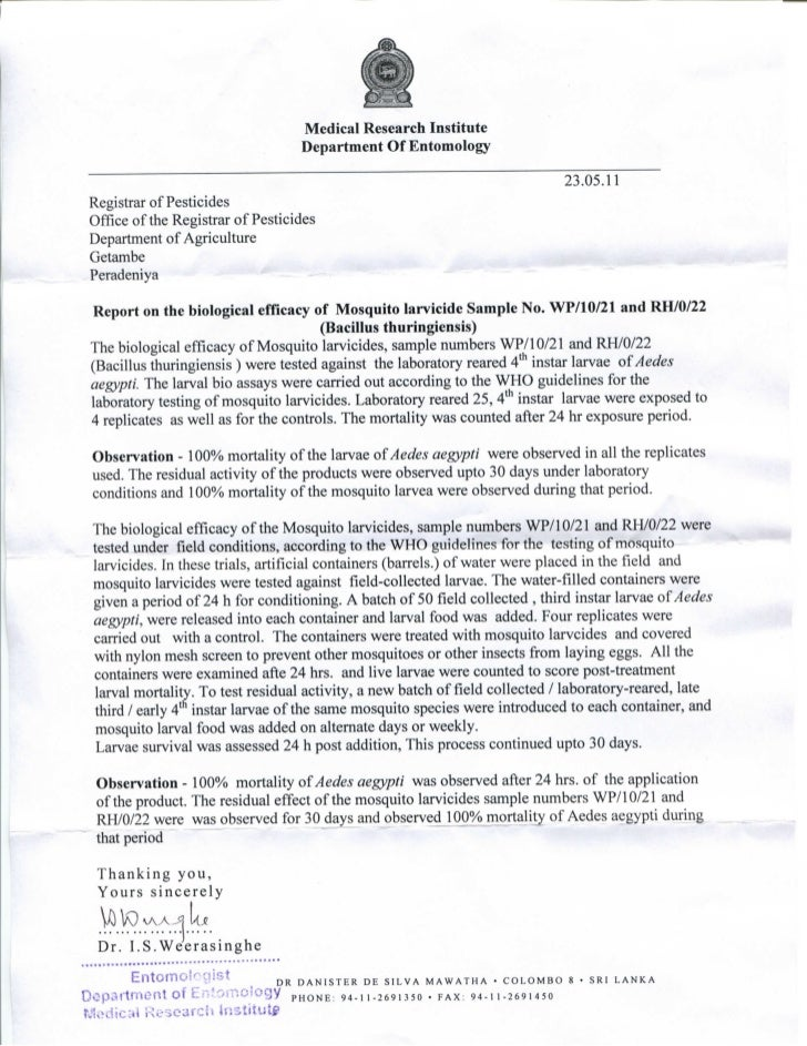MD Mousticide Efficacy Testing by MRI Sri Lanka