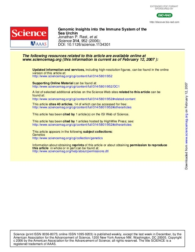 Genomic Insights into the Immune System of the                               Sea Urchin                               Jona...