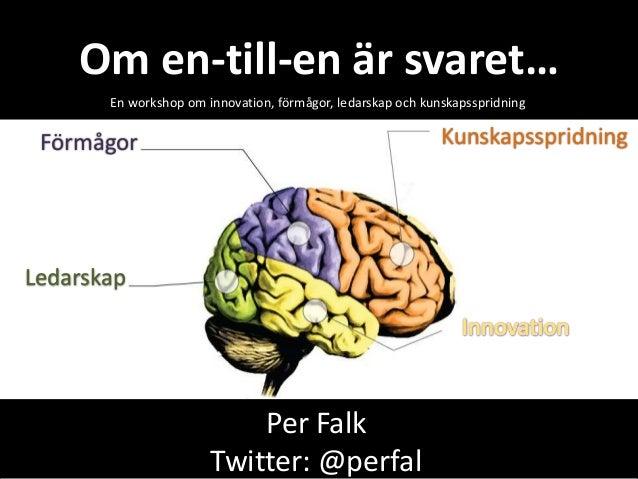 KunskapsspridningOm en-till-en är svaret…En workshop om innovation, förmågor, ledarskap och kunskapsspridningPer FalkTwitt...