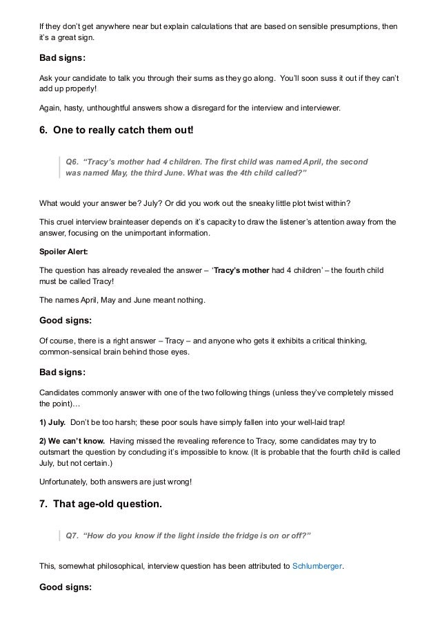 Interview Questions Critical Thinking