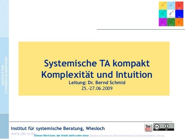 Systemische TA kompakt Komplexität und Intuition Leitung: Dr. Bernd Schmid 25.-27.06.2009  Institut für systemische Beratu...