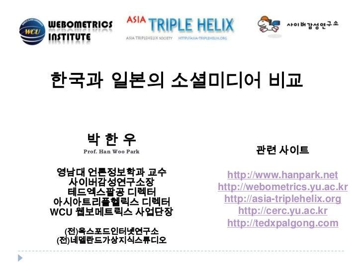 한국과 일본의 소셜미디어 비교    박한우    Prof. Han Woo Park           관련 사이트 영남대 언론정보학과 교수             http://www.hanpark.net  사이버감성연구소장...