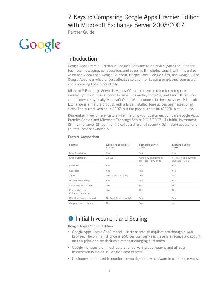 7 Keyto Comparing Google Appsand Microsoft Exchange