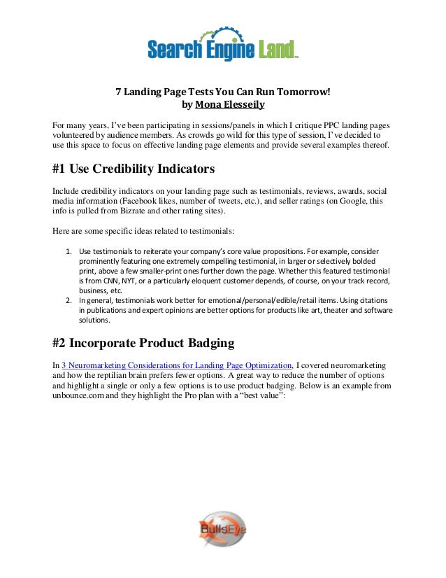 7 Landing Page Tests You Can Run Tomorrow!                               by Mona ElesseilyFor many years, I've been partic...