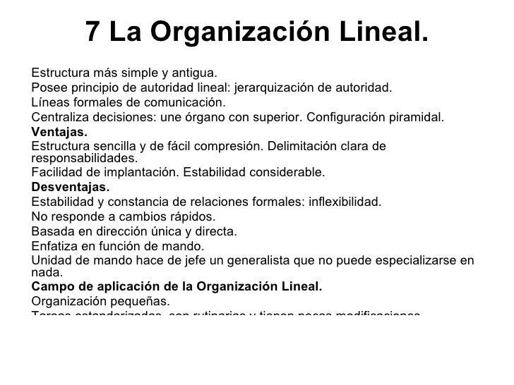 7 La Organización Lineal. <ul><li>Estructura más simple y antigua.