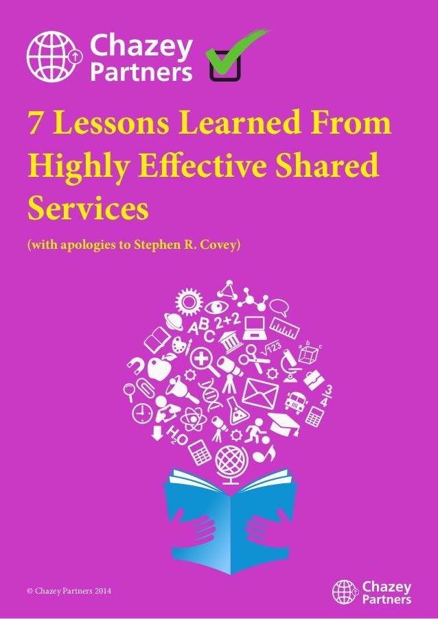 7 Lessons Learned From Highly Effective Shared Services (with apologies to Stephen R. Covey) © Chazey Partners 2014