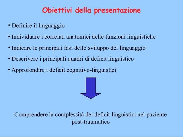 Obiettivi della presentazione • Definire il linguaggio • Individuare i correlati anatomici delle funzioni linguistiche • I...