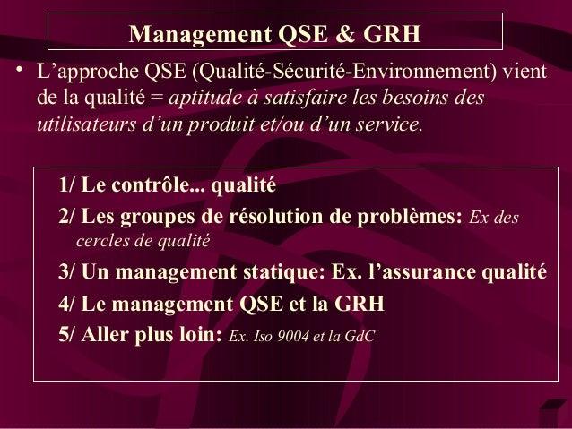 Management QSE & GRH  • L'approche QSE (Qualité-Sécurité-Environnement) vient  de la qualité = aptitude à satisfaire les b...