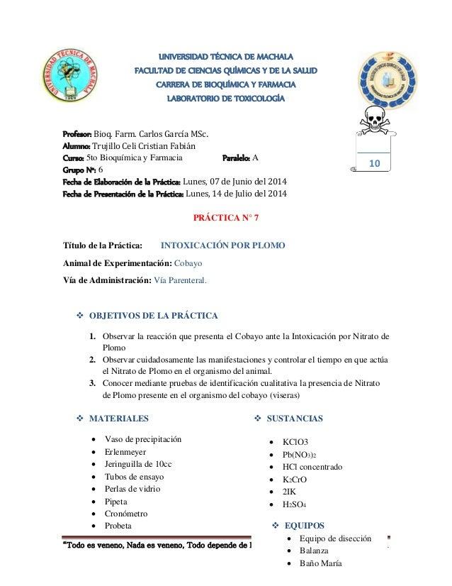 """""""Todo es veneno, Nada es veneno, Todo depende de la dosis"""" (PARACELSO) Página 1  SUSTANCIAS  KClO3  Pb(NO3)2  HCl conc..."""