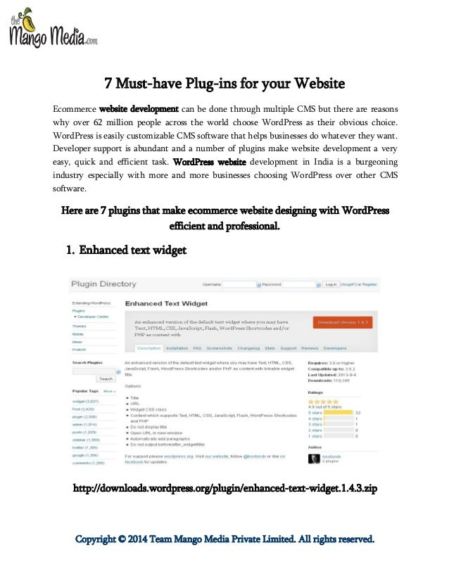 Copyright © 2014 Team Mango Media Private Limited. All rights reserved. 7 Must-have Plug-ins for your Website Ecommerce we...