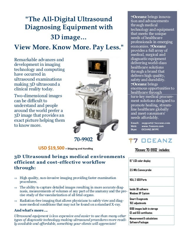 """7Oceanz brings innova-   """"The All-Digital Ultrasound                                                 tion and advancements..."""