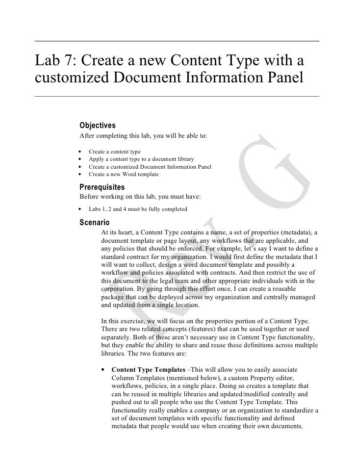 ( 7 ) Office 2007   Create A New Content Type