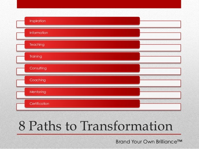 8 Paths to Transformation Inspiration Information Teaching Training Consulting Coaching Mentoring Certification Brand Your...