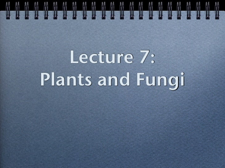 Lecture 7:Plants and Fungi