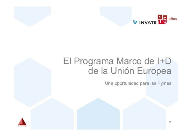 El Programa Marco de I+D      de la Unión Europea         Una oportunidad para las Pymes                                  ...