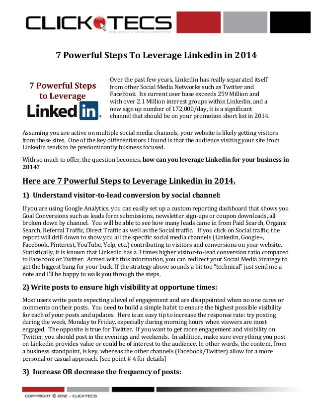 7	   Powerful	   Steps	   To	   Leverage	   Linkedin	   in	   2014	    	   	     	     Over	   the	   past	   few	   yea...
