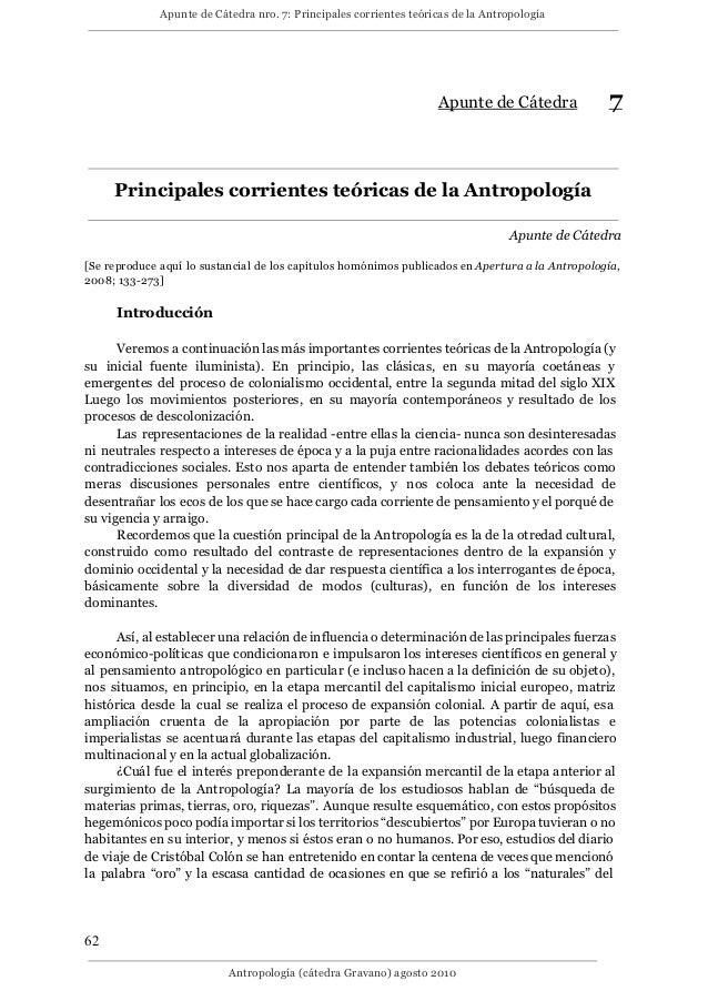 Apunte de Cátedra nro. 7: Principales corrientes teóricas de la Antropología Apunte de Cátedra 7 Principales corrientes te...