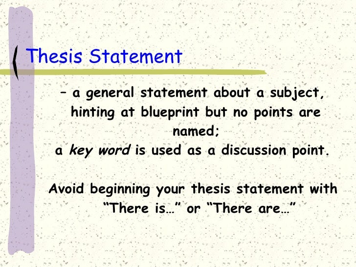 General thesis statement