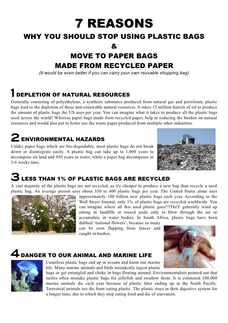 avoid plastic bags essay • manufacturing of plastic bags is harmful to the environment because nonrenewable resources are used (petroleum and natural gas) the manufacturing process itself uses toxic chemicals, pollutes the atmosphere and consumes energy.