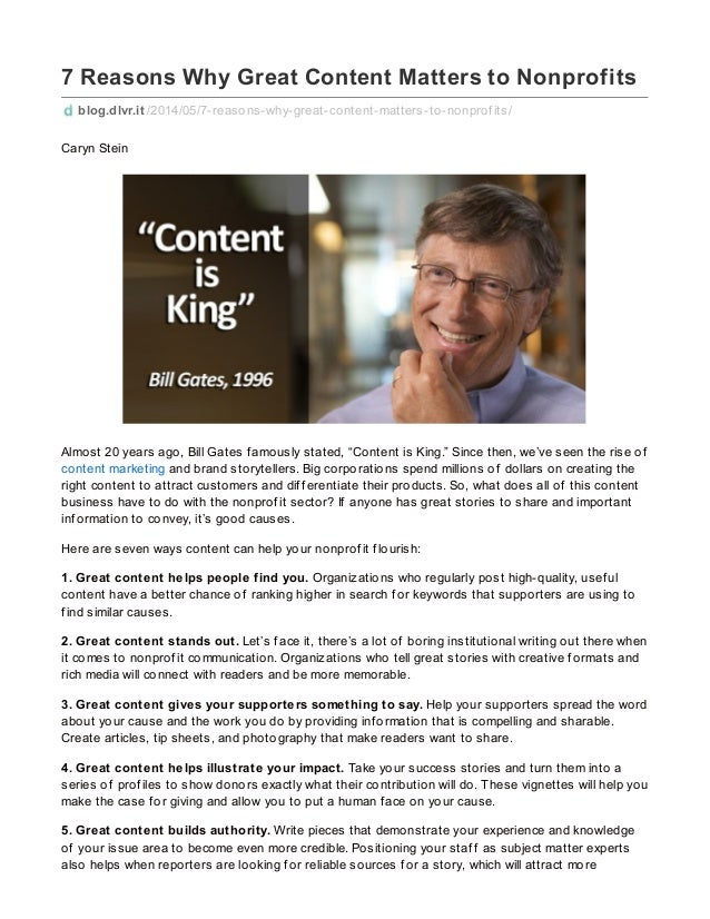 7 Reasons Why Great Content Matters to Nonprofits blog.dlvr.it /2014/05/7-reasons-why-great-content-matters-to-nonprof its...