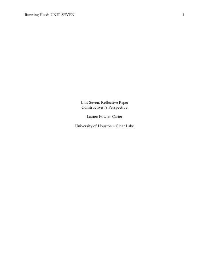 Unit Seven Reflective Paper