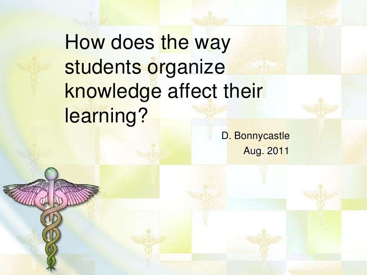 How does the waystudents organizeknowledge affect theirlearning?                 D. Bonnycastle                     Aug. 2...