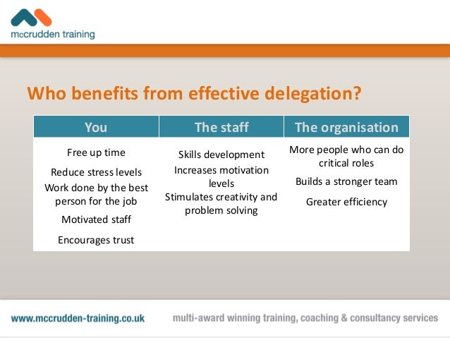 benefits of delegating The importance of delegation are when delegating a task to someone, the higher the likelihood of that person carrying out what you want successfully.