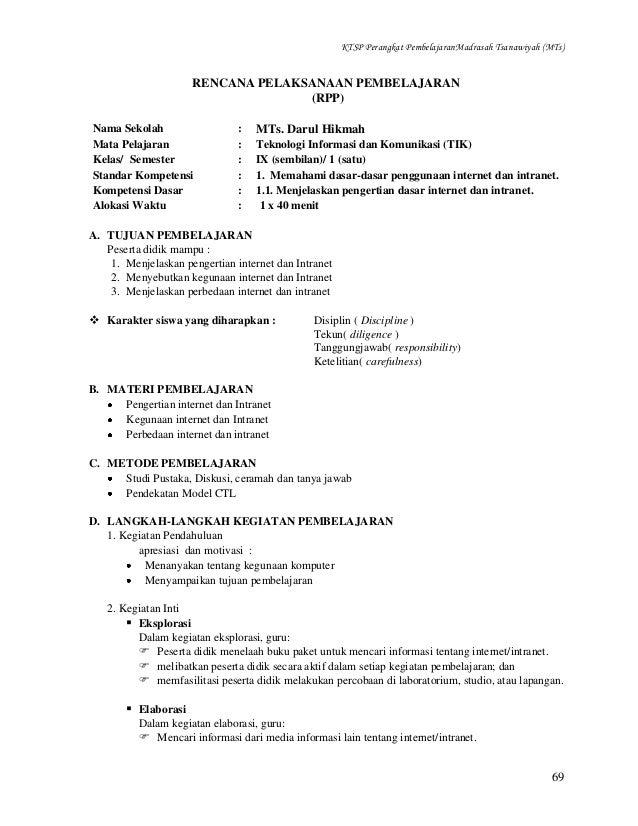 KTSP Perangkat PembelajaranMadrasah Tsanawiyah (MTs)  RENCANA PELAKSANAAN PEMBELAJARAN (RPP) Nama Sekolah Mata Pelajaran K...