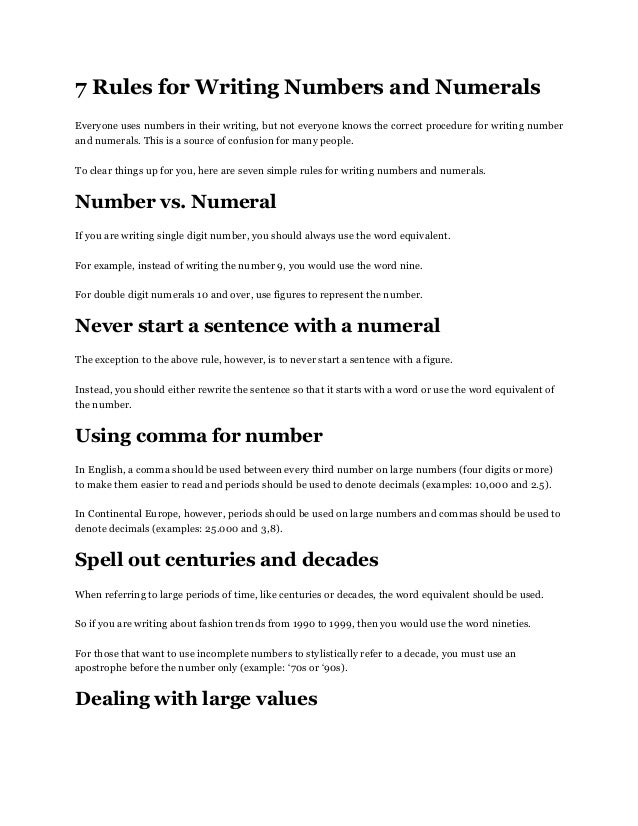 Number writing rules in essays