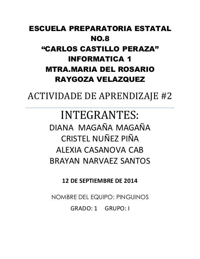 """ESCUELA PREPARATORIA ESTATAL  NO.8  """"CARLOS CASTILLO PERAZA""""  INFORMATICA 1  MTRA.MARIA DEL ROSARIO  RAYGOZA VELAZQUEZ  AC..."""