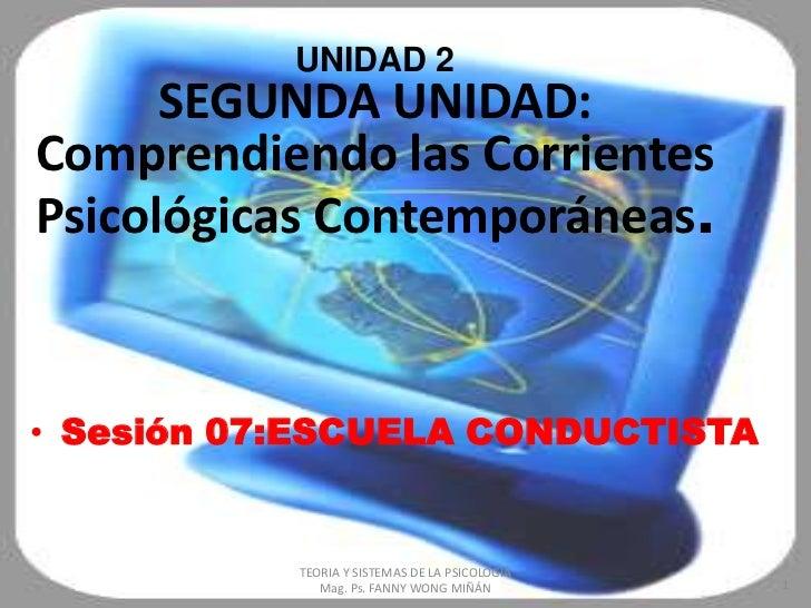 UNIDAD 2        EL CONDUCTISMO      SEGUNDA UNIDAD:Comprendiendo las CorrientesPsicológicas Contemporáneas.• Sesión 07:ESC...