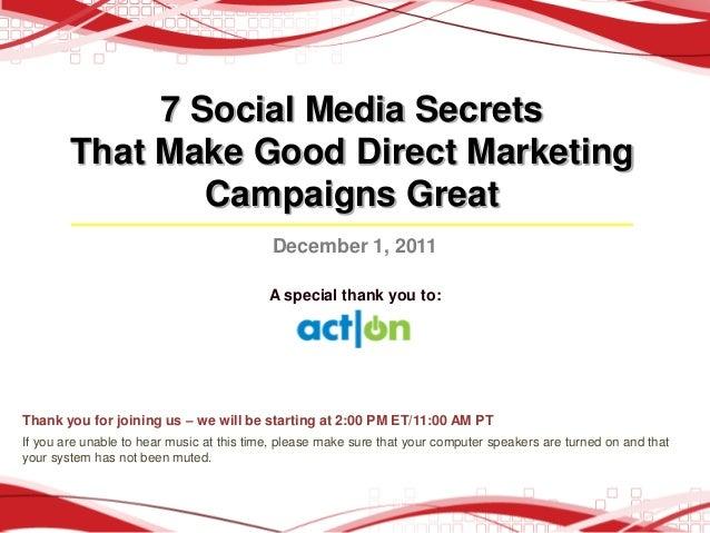 7 Social Media Secrets        That Make Good Direct Marketing                Campaigns Great                              ...