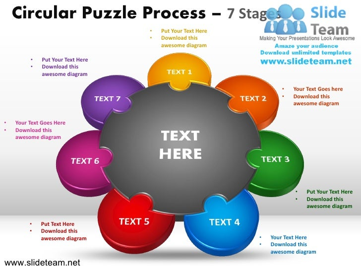 Circular Puzzle Process – 7 Stages                                   •   Put Your Text Here                               ...