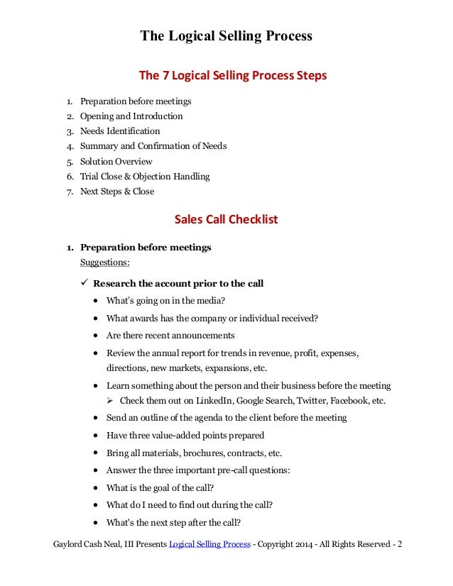 Trial Process Steps Selling Process Steps 1