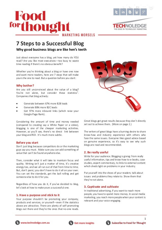 1 Just about everyone has a blog, yet how many do YOU read? Are you like most executives—too busy to waste time reading if...